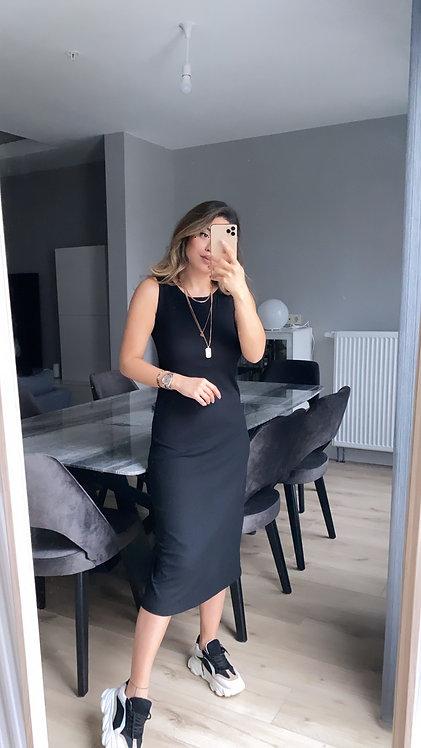 Siyah Kaskorse Basic Elbise