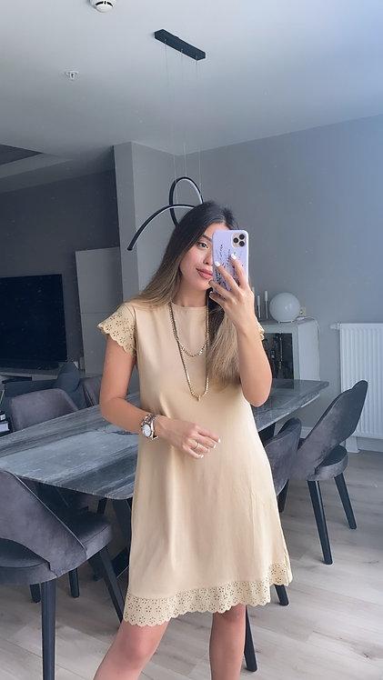 Camel Fisto Detayli Elbise