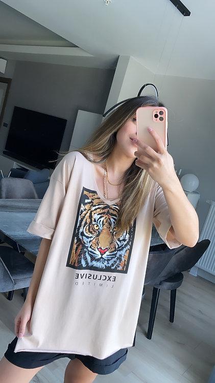 Camel  Kaplanli V yaka Tshirt