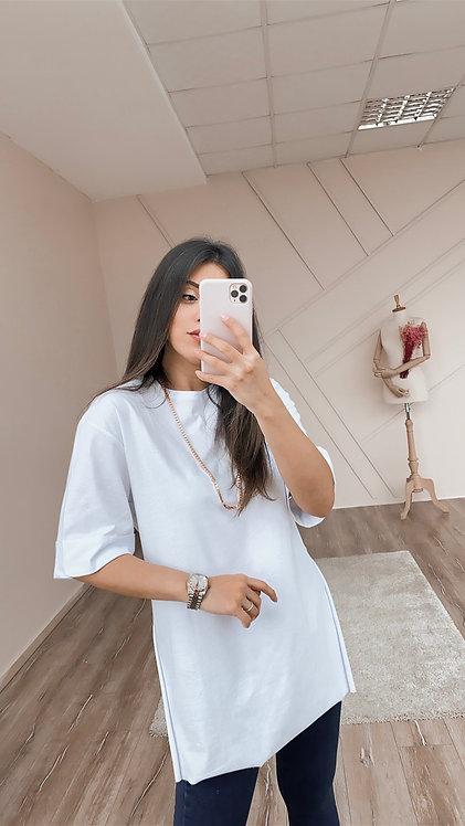 Beyaz Duble Kol Tshirt