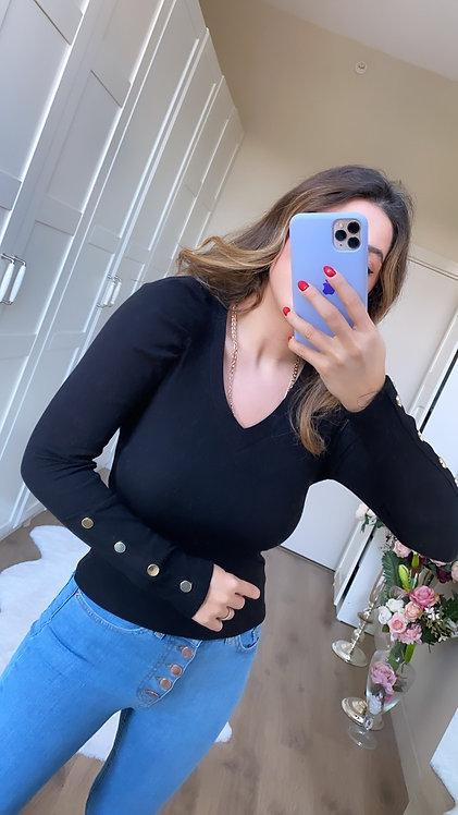 Siyah Gold Dugmeli Basic bluz