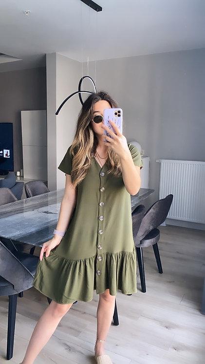 Haki Dugmeli Tiril Elbise