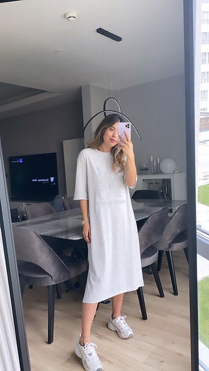 Montblanc kabartmali Gri penye elbise