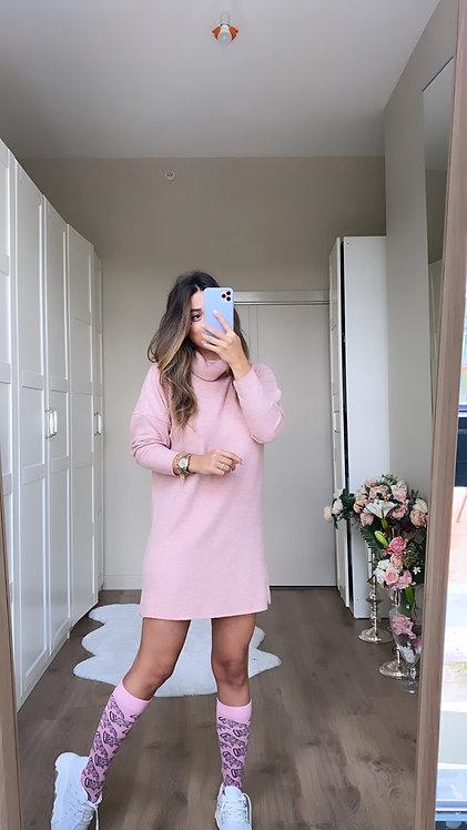 Pudra yumos Balikci Triko Elbise/Tunik