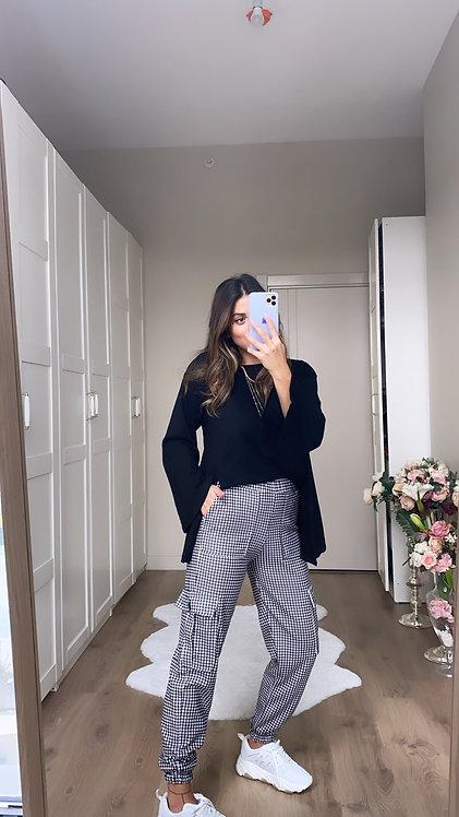Siyah Beyaz Potikare pantolon