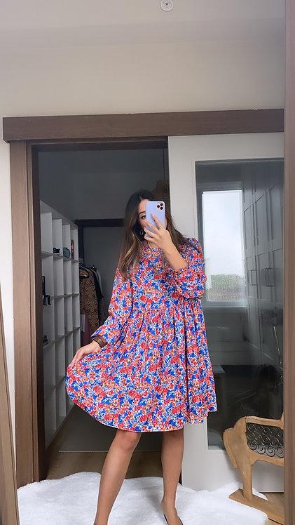 Renkli Krep Elbise