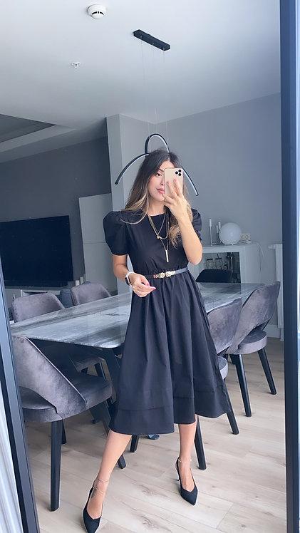 Siyah poplin Elbise