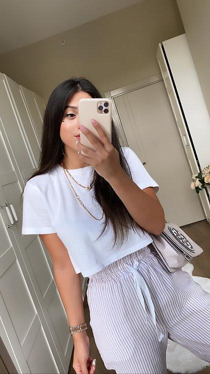 Beyaz Crop Tshirt