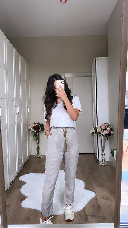 Cizgili Keten Pantolon