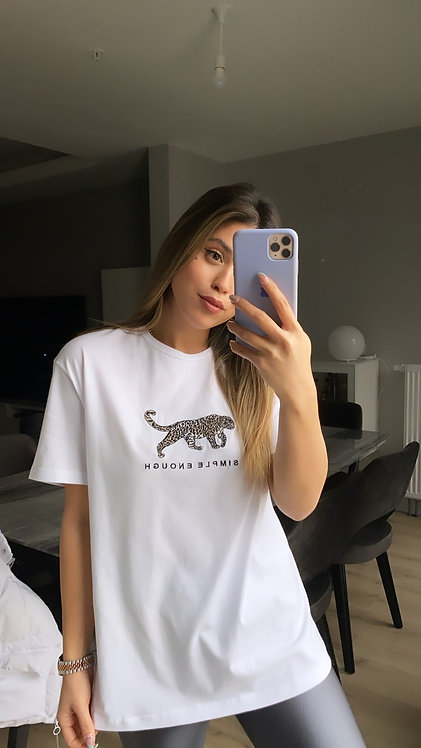 Kaplan Nakis Beyaz Tshirt