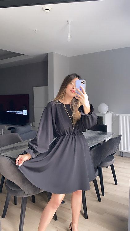 Siyah Krep Kilos Elbise
