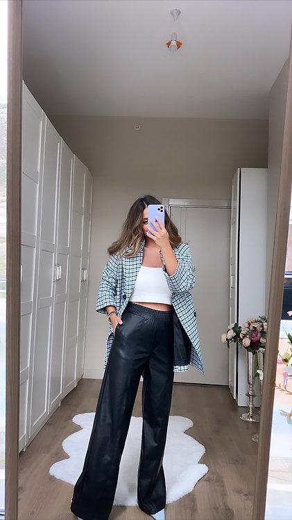 Deri Siyah Bol Paca pantolon