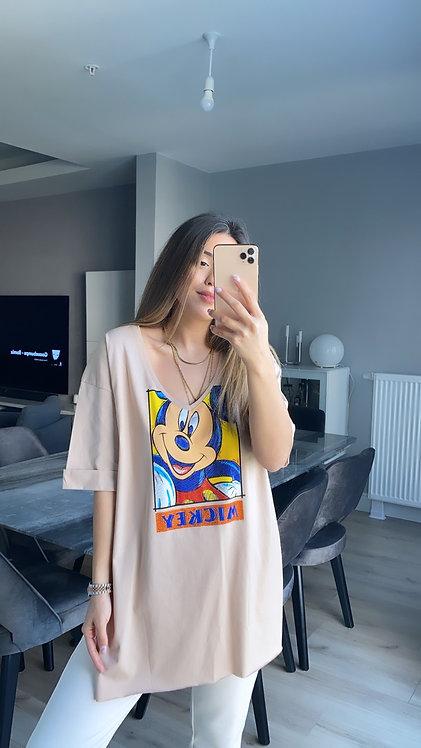 Mickey Tasli V yaka Camel Tshirt