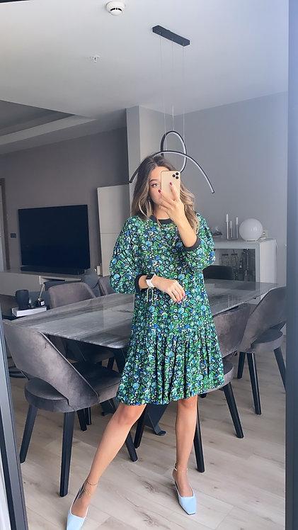Mavi Cicekli Krep Balon Etekli Elbise