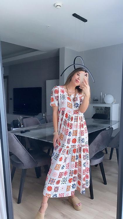 Etnik renkli Desenli  Acik renk Tiril elbise