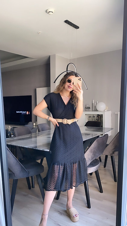 Hasir kemerli siyah Gupur elbise