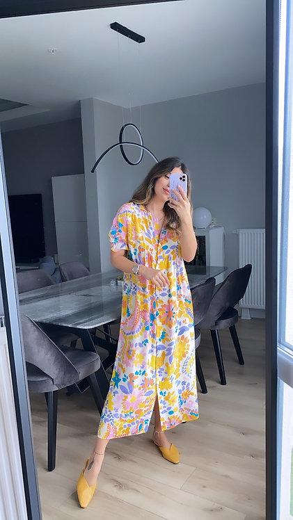 Renkli Dugmeli Cicekli Tiril Elbise