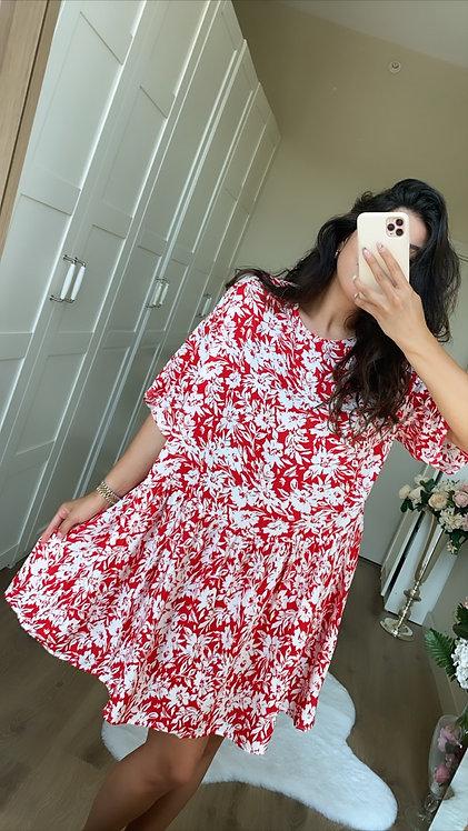 Kirmizi Desenli Elbise