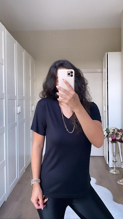 Siyah ipek Tshirt