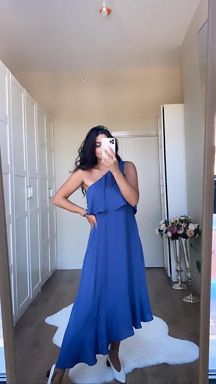İndigo Tek Omuz Elbise
