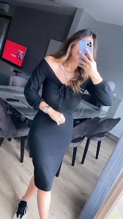 Siyah Yakasi Buzgulu Kaskorse Elbise