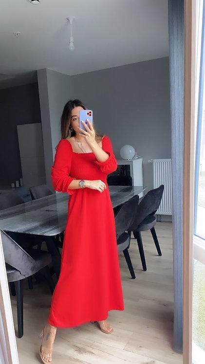 Kirmizi uzun Gipeli Elbise