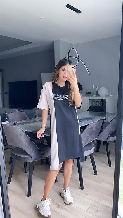 Siyah bej sweat elbise