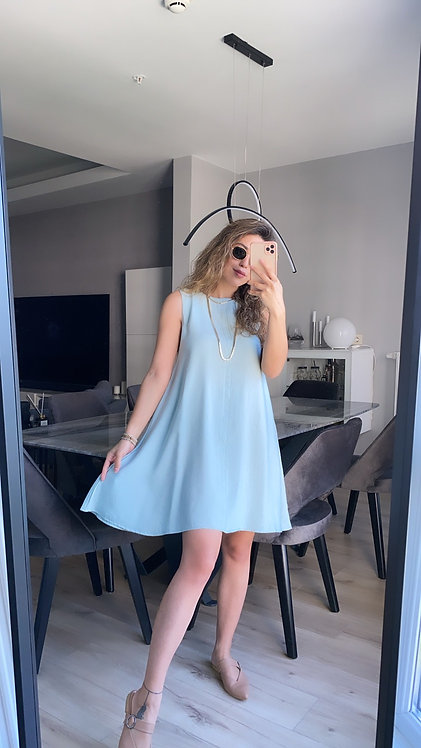 Mint Keten Basic Elbise