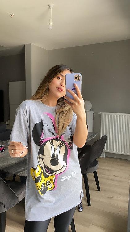 Gri Pembe Mickey Tunik Tshirt