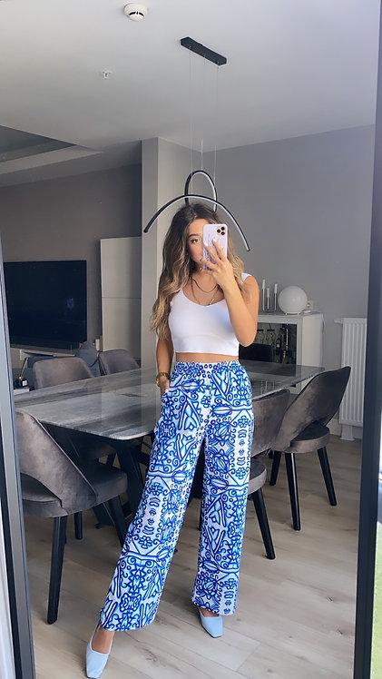 Mavi desenli Pantolon