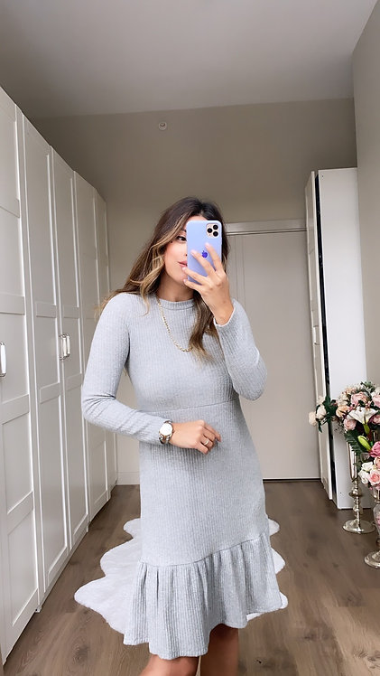 Gri Yun Kaskorse Elbise