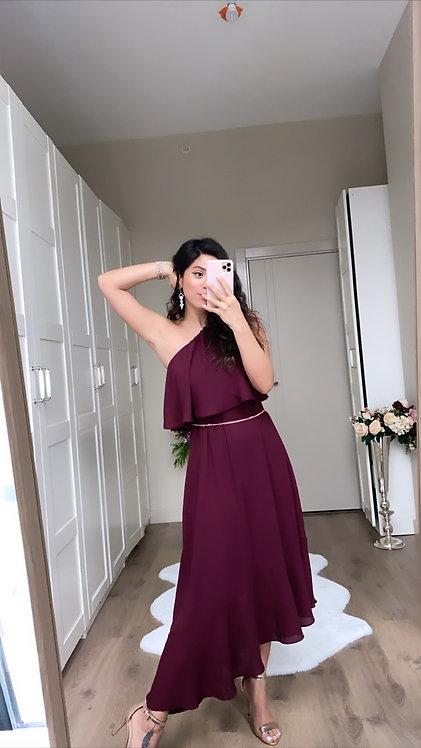 Bordo Tek Omuz Elbise