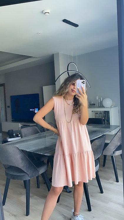 Pembe 3 kat basic penye elbise