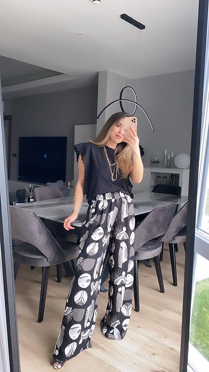 Siyah beyaz Gri Tropik Desenli Pantolon