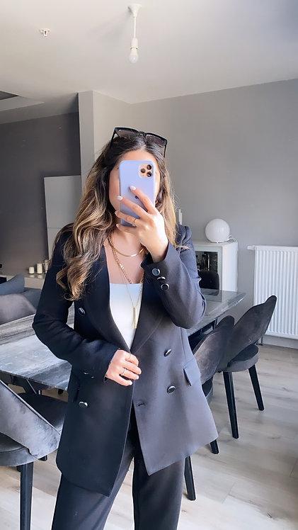 Siyah dugmeli Ceket