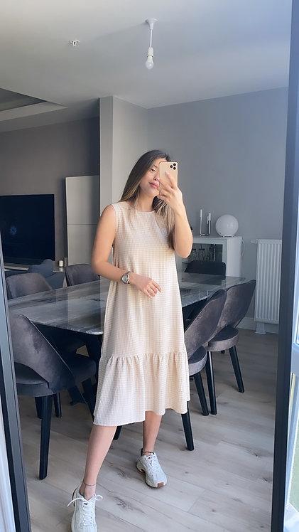 Bej Kareli Ozel kumas Elbise