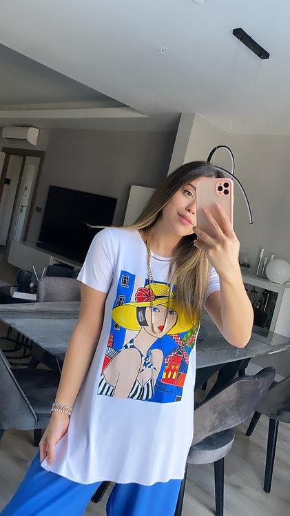 Mavili Kiz Baskili Tshirt