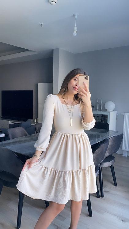 Krem Aerobin Tiril Kare yaka elbise