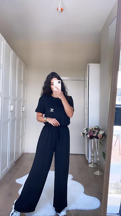 Siyah Bol Paca Pantolon