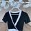 Thumbnail: Beyaz seritli kruvaze bluz