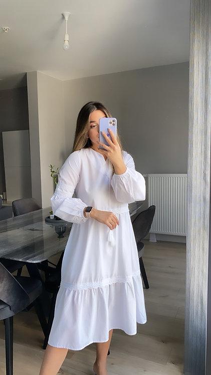 Beyaz Poplin Fistolu elbise