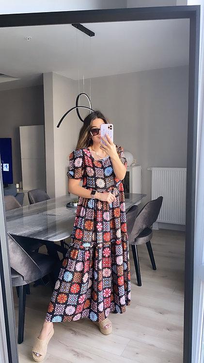 Etnik Desenli Koyu Renk Tiril elbise