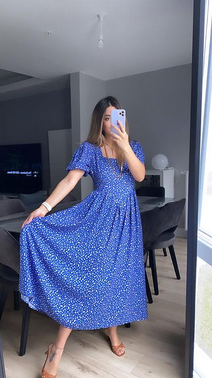 Mavi kare Yaka Cicekli Elbise