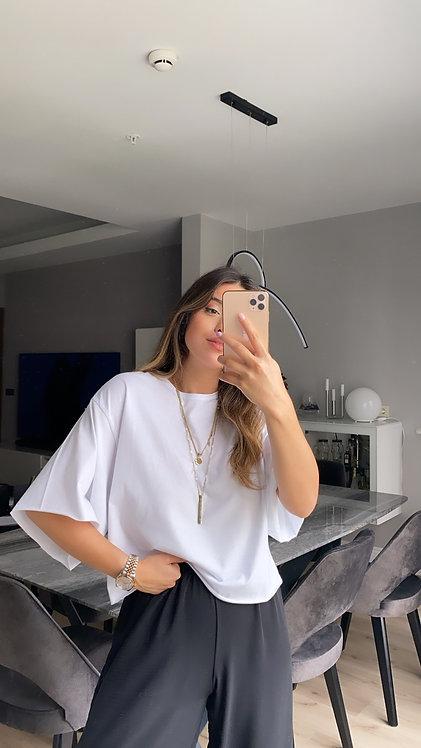Beyaz Basic Kesik Tshirt