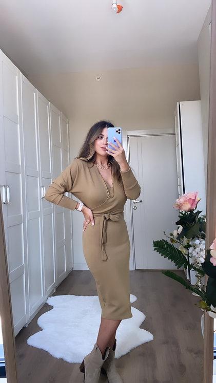 Camel Kruvaze Triko Elbise