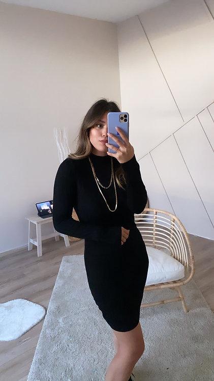 Siyah Basic Triko Elbise
