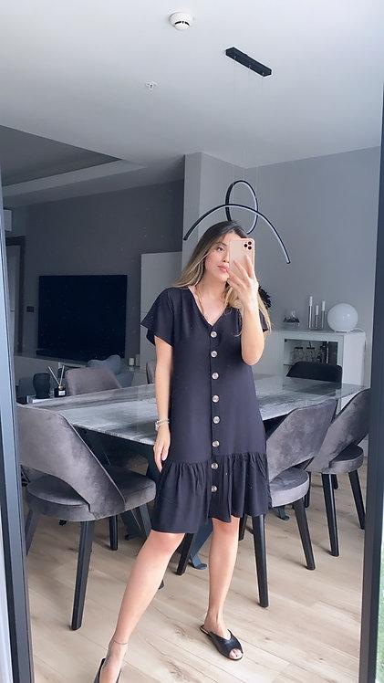 Siyah Dugmeli Tiril Elbise