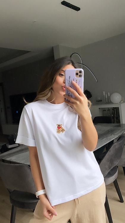 Ayicik nakisli beyaz Tshirt