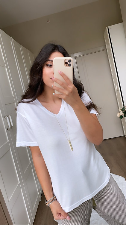 Beyaz İpek Tshirt