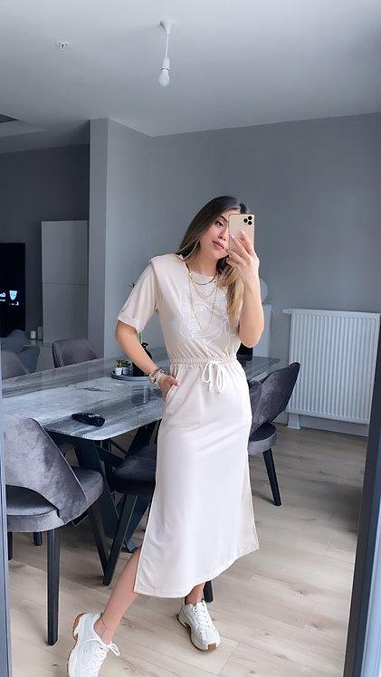 Bej Kiz nakisli Elbise